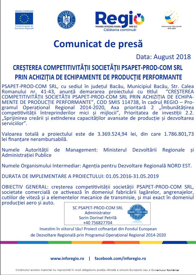REGIO – Programul  Operațional  Regional  2014-2020